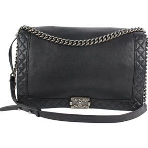 Chanel Large Black Reverso Quilted Boy Bag
